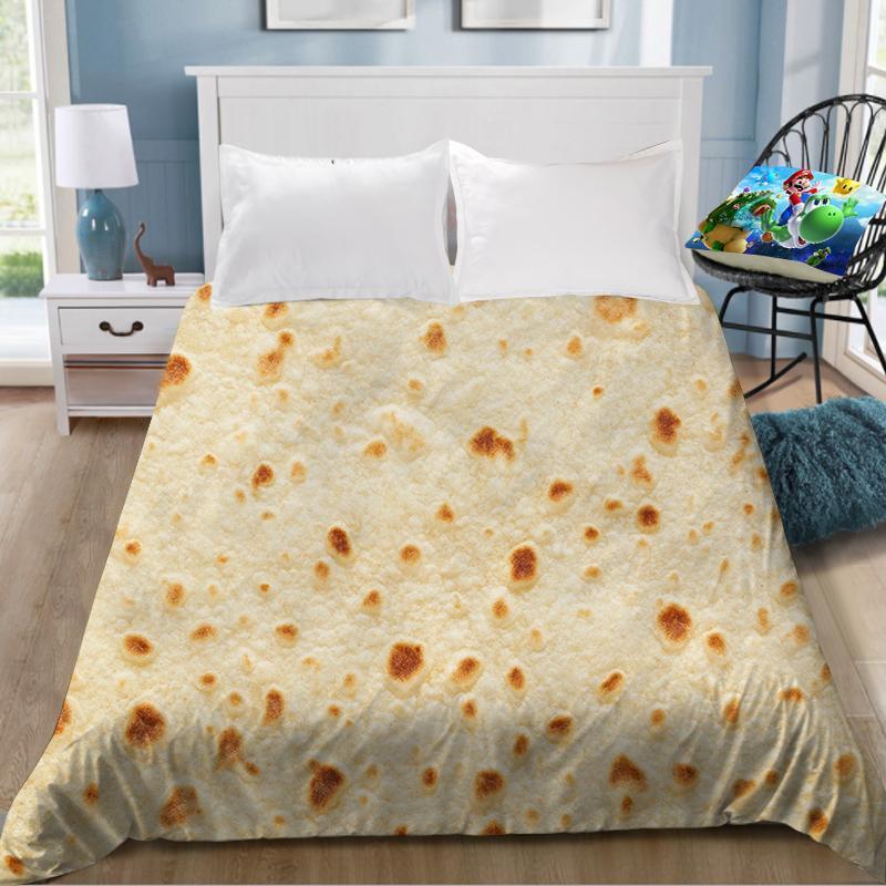 1pcs 프렌치 프라이 피자 팬케이크 인쇄 침대 시트 맛있는 coverlet 어린이 룸 침대 시트 (커버 케이스 없음)
