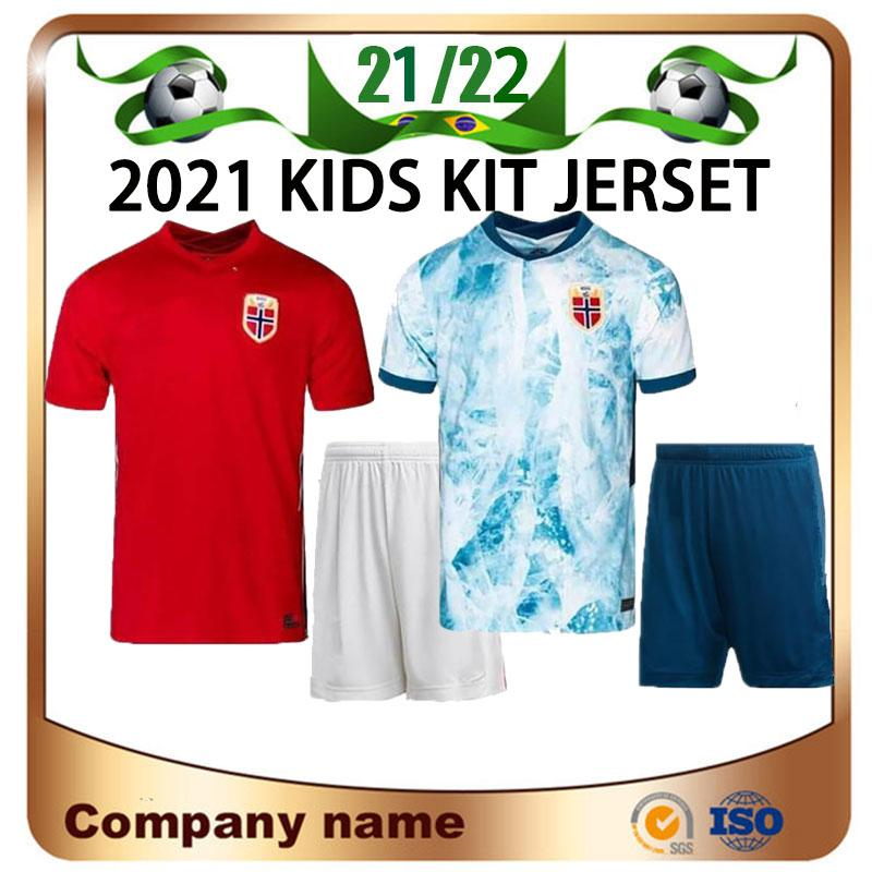 20/21 Noruega Kids Kit Jerseys de Futebol 2021 Noruega Haaland Ödegaard Berge King Camisetas Camisa de Fúltbol National Equipe Futebol Uniformes Tailândia