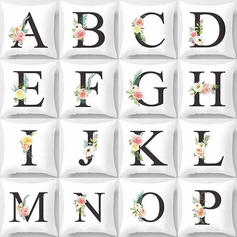 Kissen / dekorative Kissen Schwarze Buchstaben auf weißem Polyester Kissenbezug Wurf Auto Dekoration Schlafsofa Dekorative Kissenbezug 40809