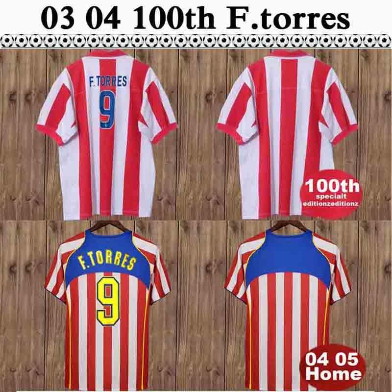 04 05 F.Torres rétro hommes Home Soccer Jerseys Gabi Simeone 1903 2003 100ème édition commémorative Chemise de football blanc rouge à manches courtes Uniformes adultes