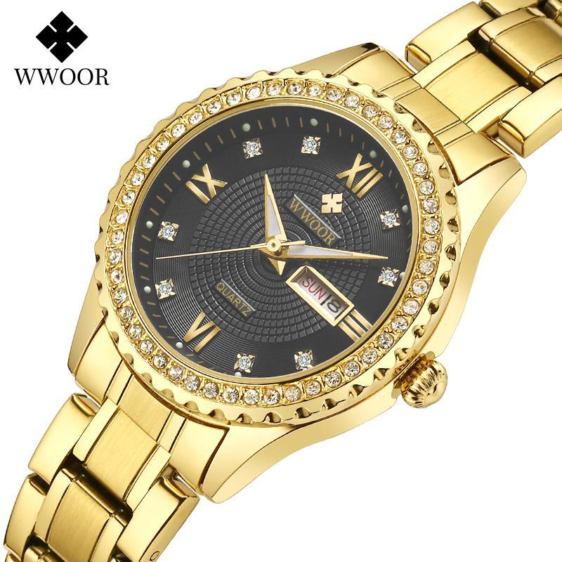 Montres-bracelets Wwoor Luxury Robe Diamond Gold Gold Women Femmes Cadeau 2021 Date Etanche Haute Qualité En Acier Inoxydable Fashy Watch Woma