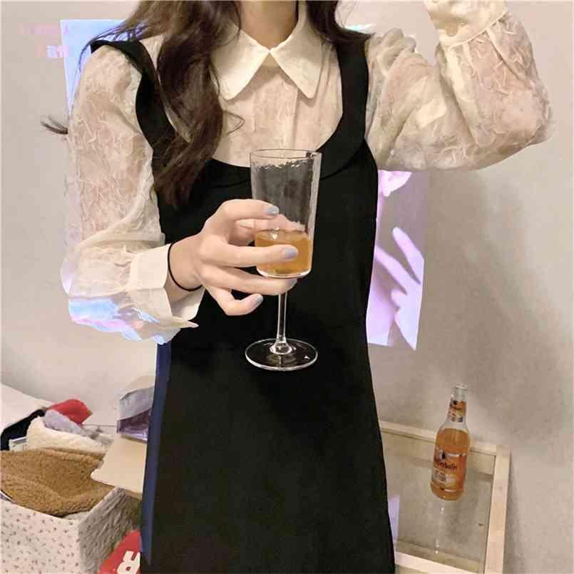 봄 가을 2 조각 양복 민소매 빈티지 여성 드레스 여성 여자 드레스 정장 robe femme vestido 별도 판매 210423