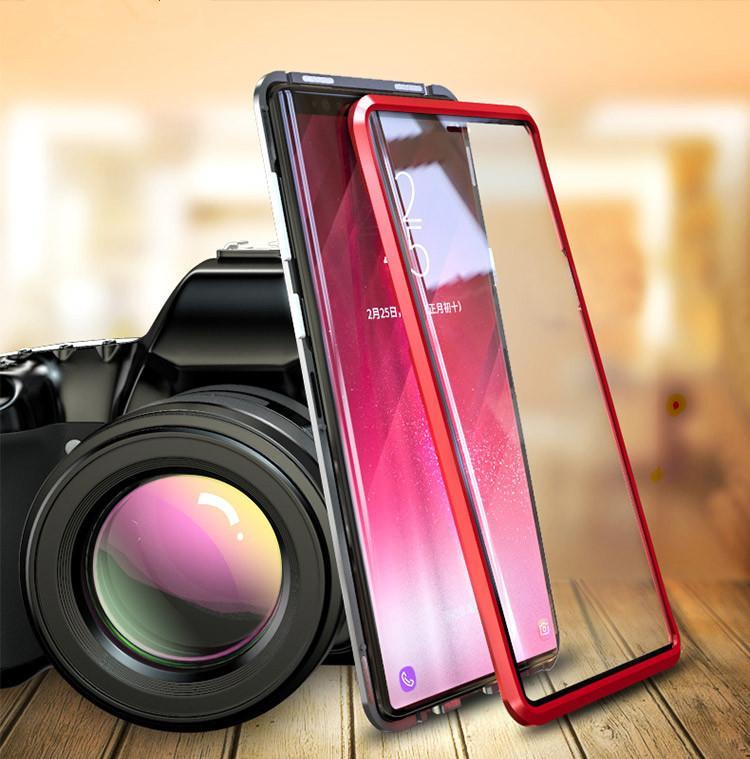 Caja de marco de metal de adsorción magnética Frente y trasero Vidrio templado Cobertura de pantalla completa para Samsung Galaxy S21 Ultra S21 más 30pcs / lot