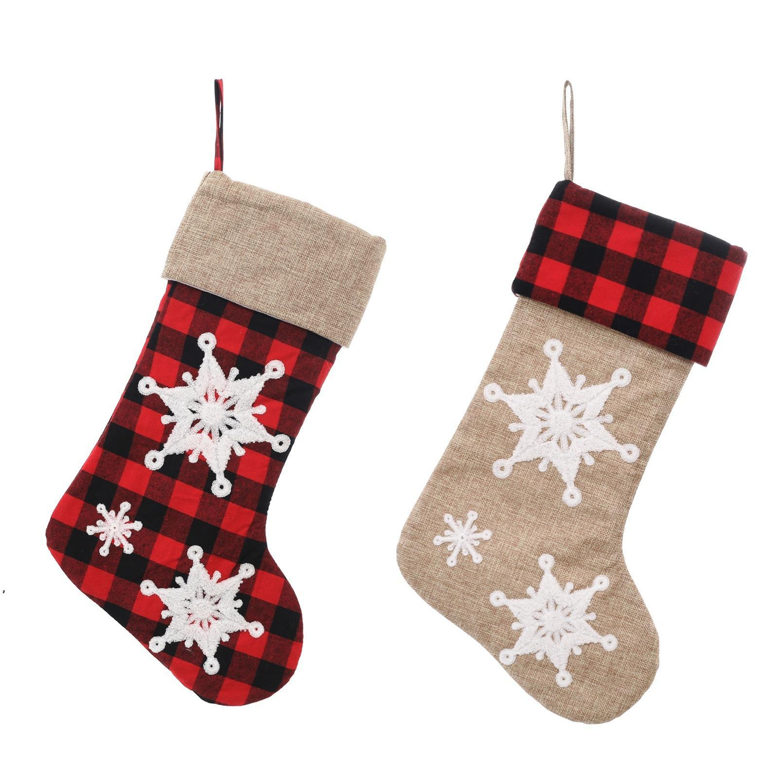3D copo de nieve medias navideñas medias de Navidad árbol colgando adornos adornos chimenea gingham calcetines caramelo bolsa de regalo CCF8831