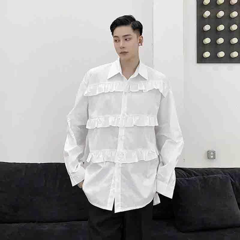 느슨한 셔츠 맞춤형 외국 스타일 레이스 긴 소매 장식 캐주얼 유스원 남자 가을 패션 남자의 무관심 셔츠