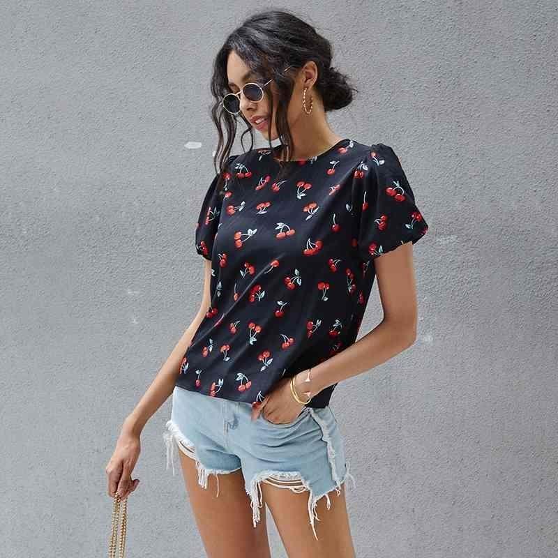 Cereja bonito da cópia da cereja Top da luva inchado de T-shirt para mulheres Kawaii Sólida Preto O pescoço de manga curta TShirt mais tamanho 210322