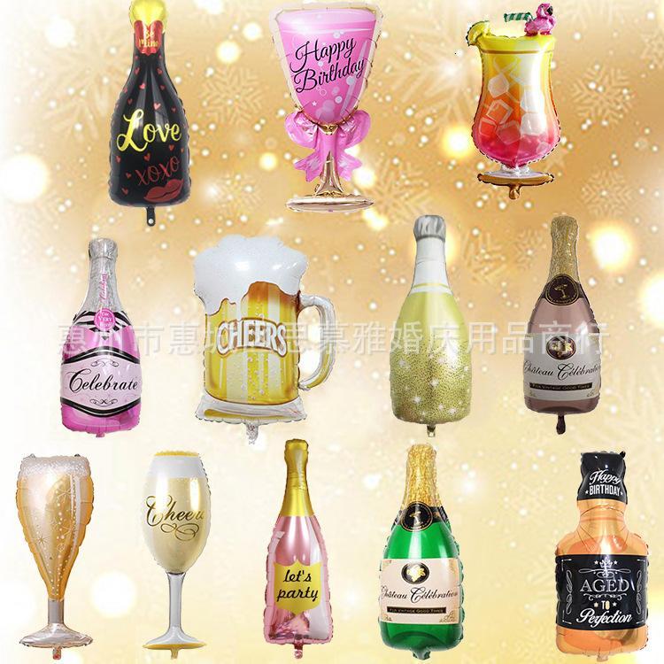 Grande Champagne Vidro Garrafa de Vinho Alumínio Filme Celebração Recepção Festa Decoração Balão