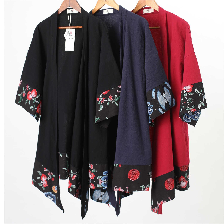 Nouveau Tissu de chanvre en coton de printemps et d'automne Batik Men's Windbreaker Moyenne Longueur Art Veste mince