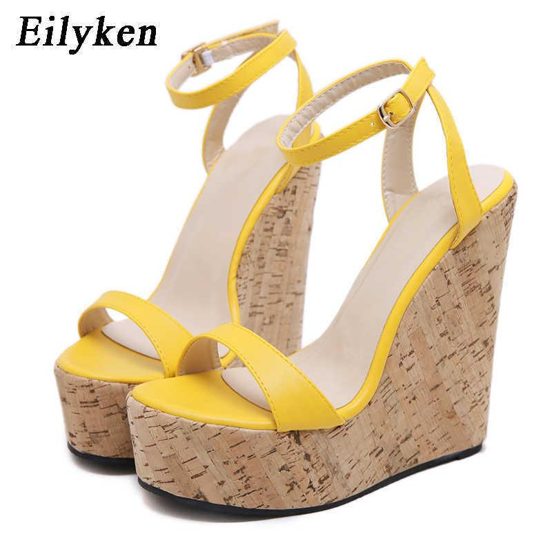 Eillken Open Toe Braple Brap Platfal платформа клинья женщин сандалии супер высокий крышка пятки гладиаторные женские туфли пряжки летние сандалии CX200618