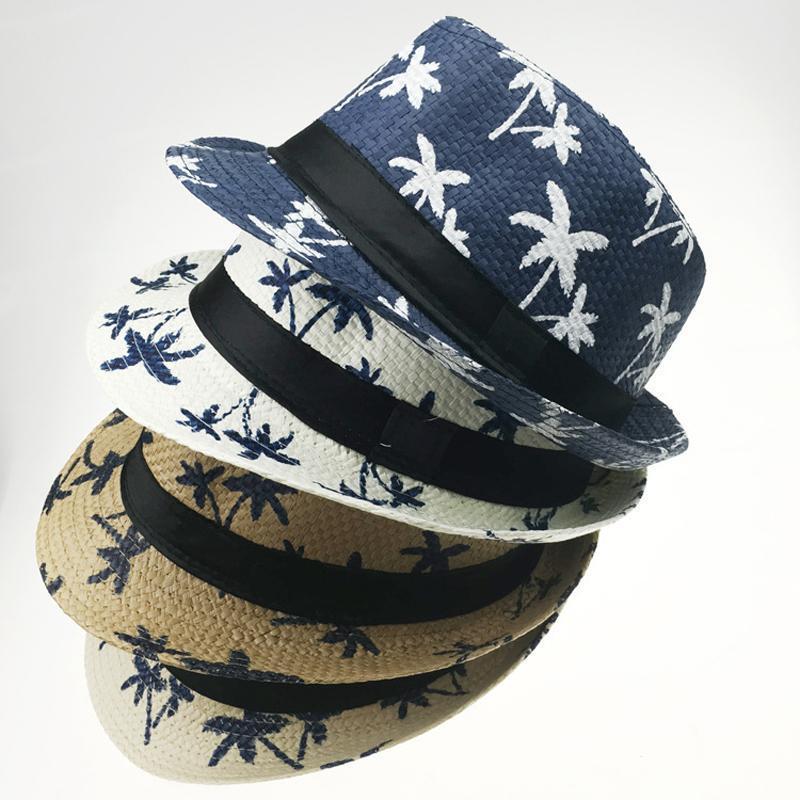 여름 종이 밀짚 재즈 페도라 모자 남성 여성들을위한 여름 모자 야외 부모 - 자식 모자 햇빛 파티 모자 와이드 브림