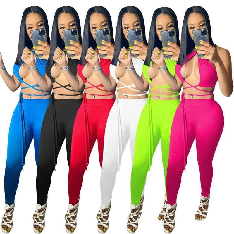 Seksi Kadınlar Iki Parçalı Pantolon Boyun Askısı Yaz Kıyafetler Sıkı Spor Rahat Suit 6 Renkler Koşu Takım Elbise