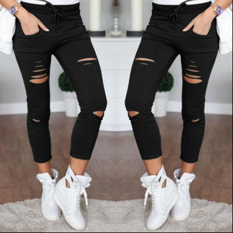 Casual Skinny Womens Jean High Waist Jeans Women Stretch Hole Slim Fit Denim Pencil Pants Trousers Army Green White Black
