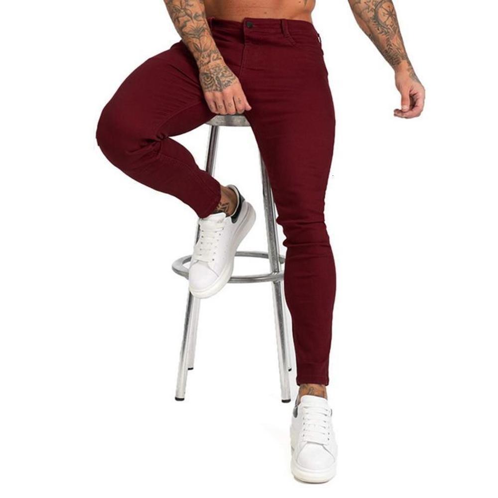 2021 Мужчины Стильные Сплошные джинсы Брюки Biker Skinny Slim Fit Прямые Джинсовые Брюки Мужчины Хип-Хоп Уличная одежда Карандаш Брюки