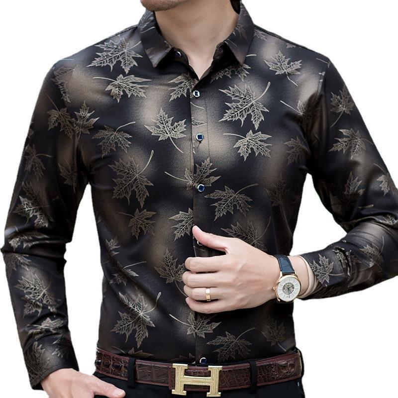 2021 Primavera y otoño Moda de hombre Camisa de arce Hoja Impresión Casual Slim de manga larga Top