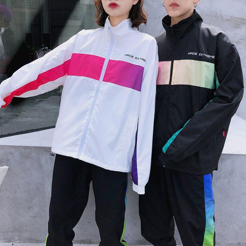 Trendy Mens Trendy Womens Grand Taille Cardigan Veste Manteau Fried Street Trimpé de Sports Couple Couple Student Sports Réunion Entreprise Tenue de l'UA