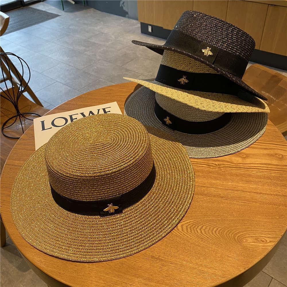 2021 Yeni Arı Saman kadın Moda Altın Dokuma Büyük Brim Yaz Plaj Güneş Şapka