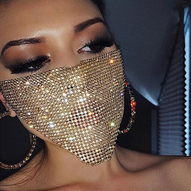 Trendy Bling Rhinestone Face Mask Jewlery for Women Face Body Jewelry Night Club Decorative Jewellery Party Mask 700 V2