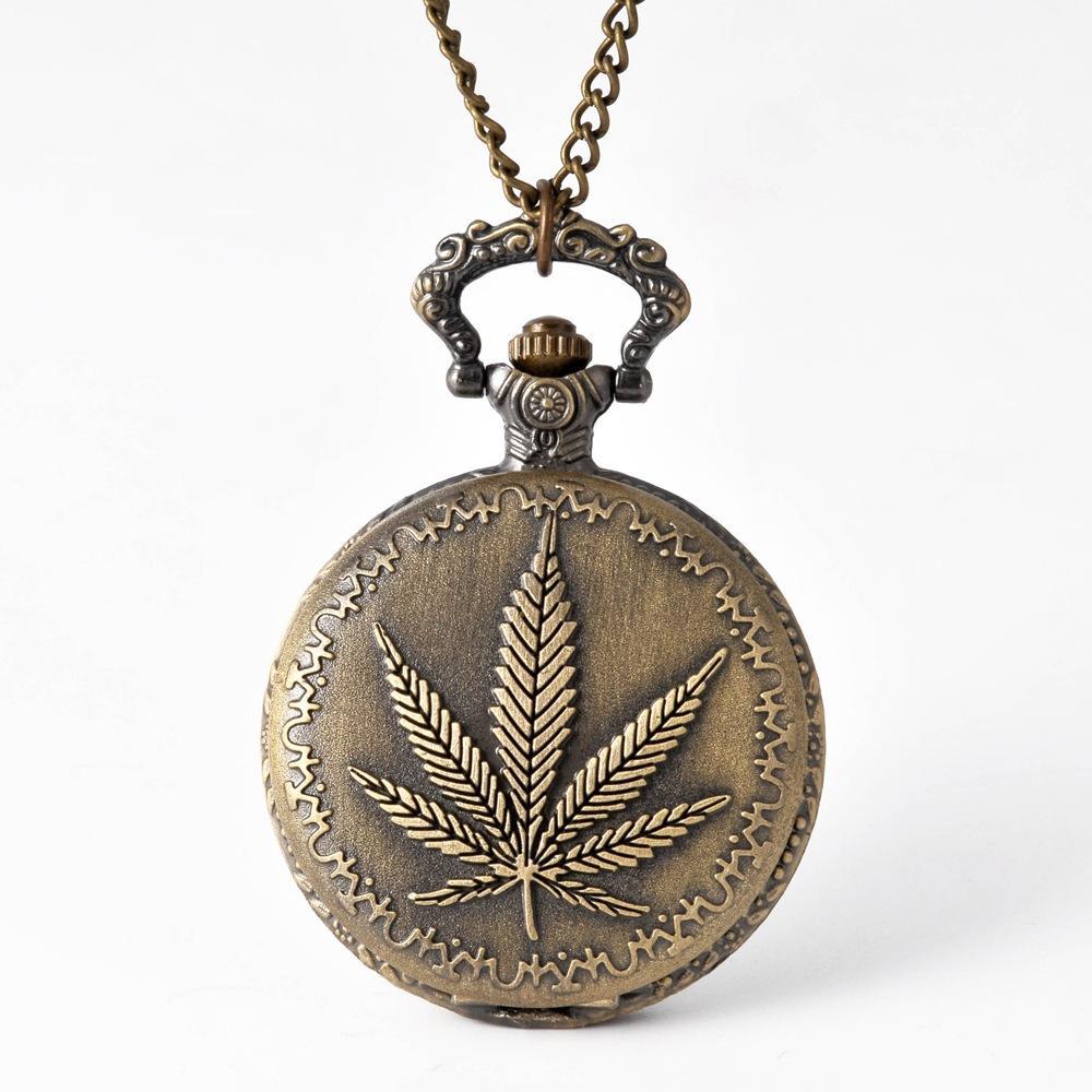 30 stücke Bronze Retro Display Ahornblätter Muster Quarz Taschenuhr Vintage Anhängeruhr Für Männer Frauen FOB Pullover Kette Halskette Uhren