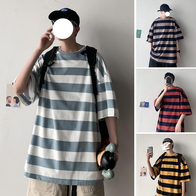 T-shirt da uomo Breve T-shirt Coreano moda Casual Stripe puro cotone bello studente trendy marchio marca Hornet mezza manica vestiti