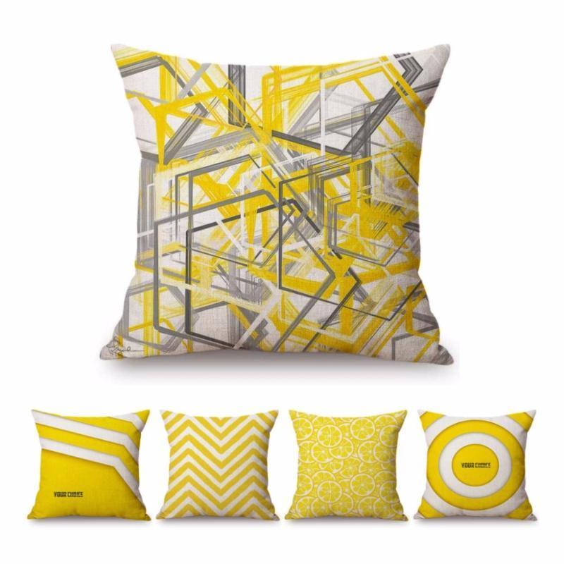 Cojín / almohada decorativa Europa Nordic Strips geométricos amarillos Moderno Decoración del hogar Lanzar algodón Ropa de cama Geometría Sofá Banco Cushio al aire libre