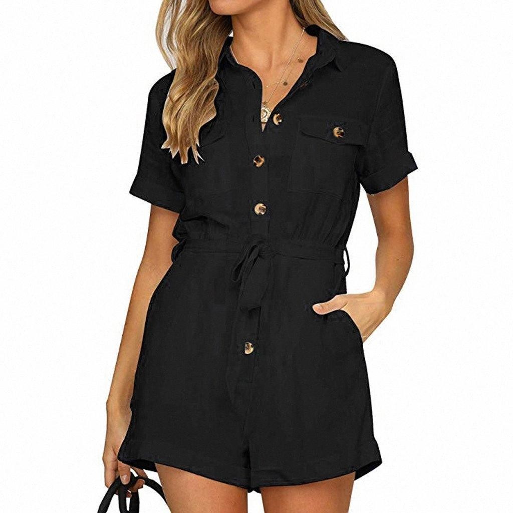 Women's Jumpsuit Button Down Cuffed Short Sleeve Office Lady Summer Clothes Solid Color Turn-down Collar Playsuit Jumpsuit 55YK#