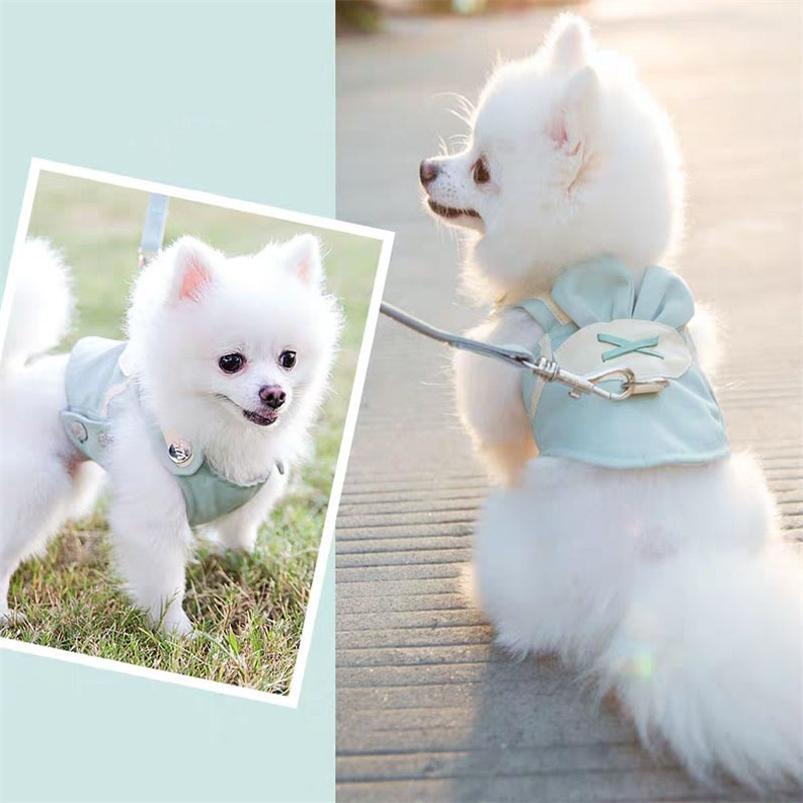 Jolie laisse de harnais pour chiens de chien de compagnie pour animaux de compagnie laisse de la poitrine respirante laisse de chien de chien pour petits chiens poméranien poméranien gilet harnais corde 210729