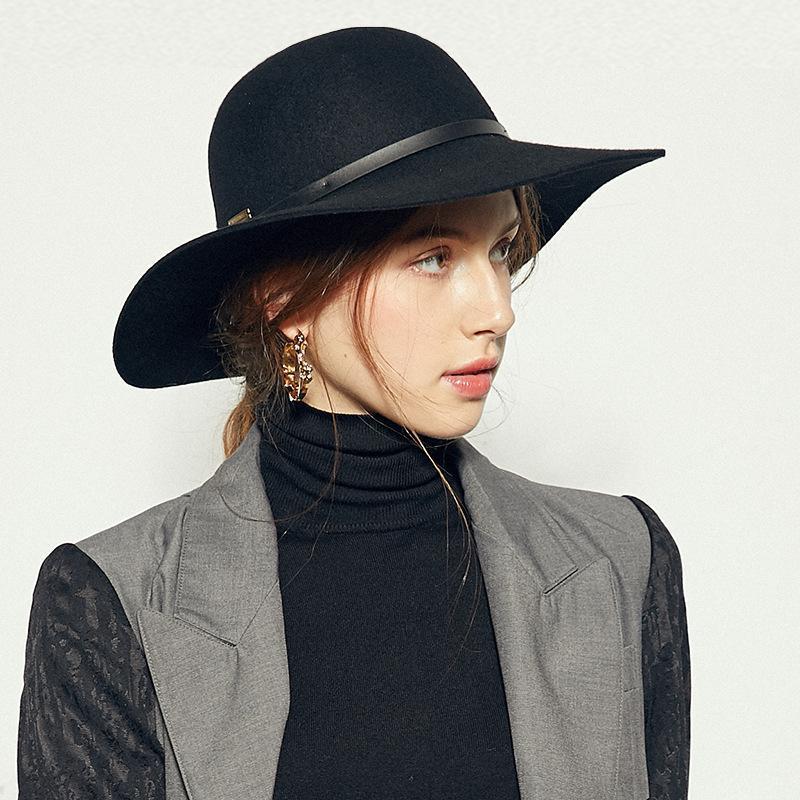 Geniş Ağız Şapkalar Sonbahar Kış Kadın Kızlar Retro Mowler Vintage Yün Fedoras Şapka Katı Lady Disket Kubbe Kap Açık Güneş Keçe