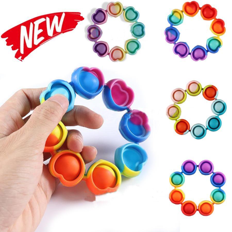 Fidget Reliver Stress Brinquedos Arco-íris Pulseira Empurre Bolha Antistress Brinquedos Adultos Crianças Toy Sensory para aliviar o autismo