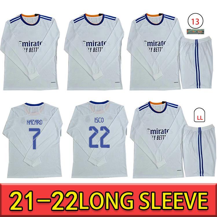 Real Madrid Soccer Jerseys 21 22 Camicie da calcio Alaba Pericolo Sergio Ramos Benzema Asensio Modric Marcelo Camiseta Menlong Manica 2021 2022 Uniformi quarto