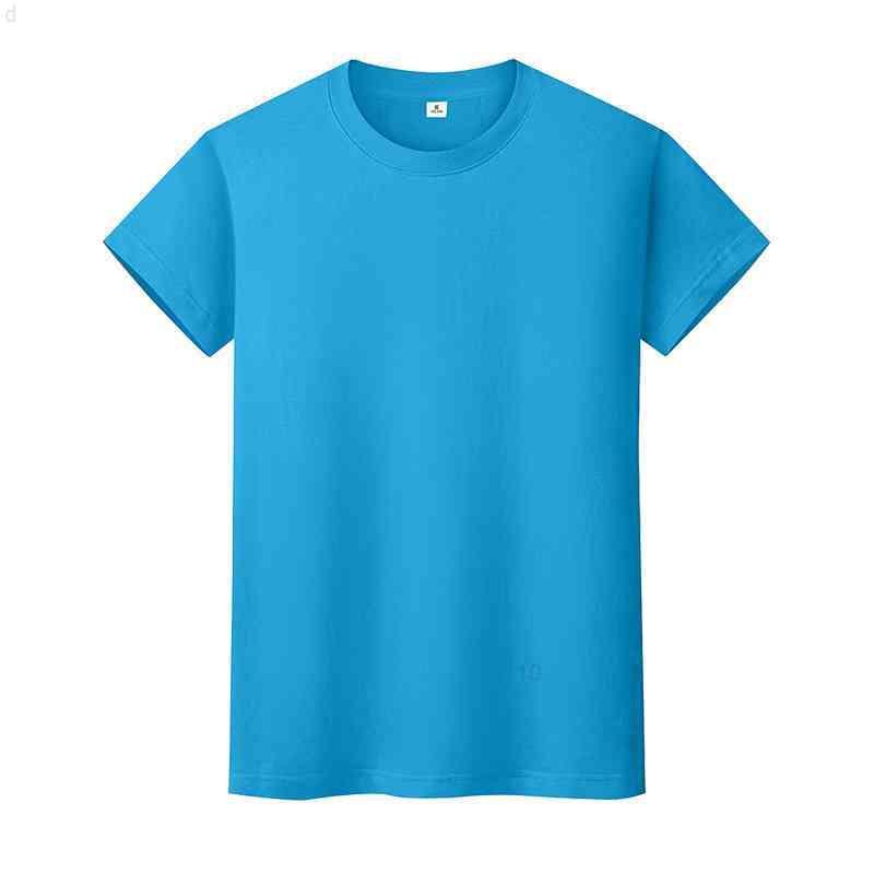 Nueva camiseta de color sólido de cuello redondo Camisa de fondo de algodón de verano para hombre y mujer de manga corta de manga corta 5zbbi