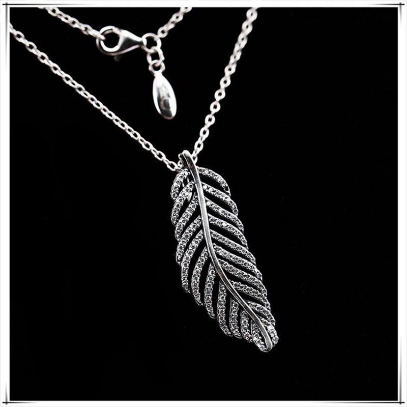 Collier de plume de paillettes 925 argent sterling pour pandora bijoux mode de haute qualité collier dames élégant avec boîte originale 271 T2
