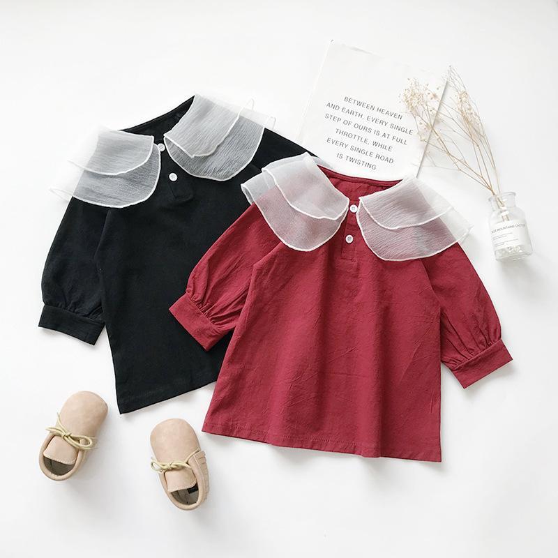 2021 Primavera Nuova Mesh Collar Dress Girls 'Lantern Manicotto per bambini Gonna a-line 53336