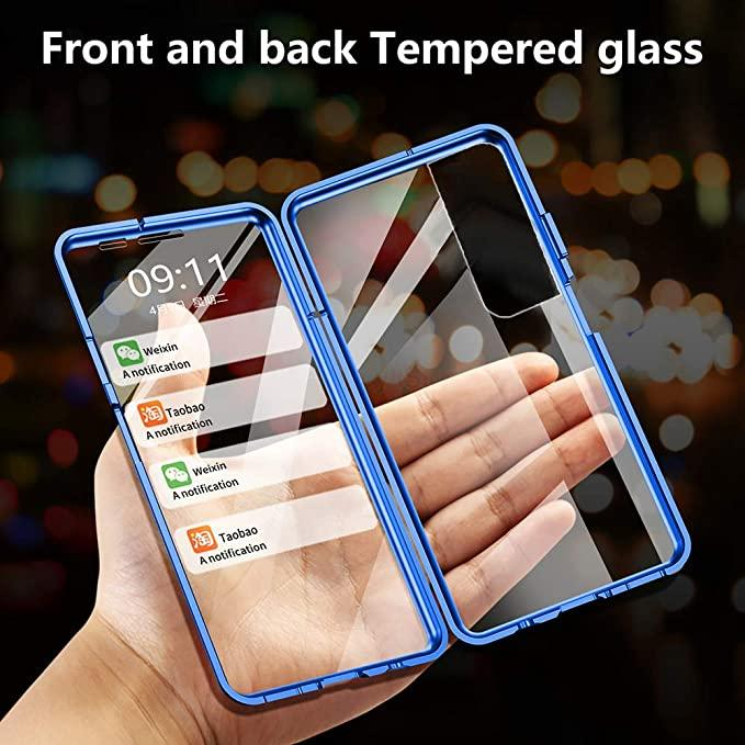 Magnetische adsorptie Metalen frame Case Front en Back Avered Glass Full Screen Coverage voor Samsung Galaxy S21 Ultra S21 Plus 100pcs / lot