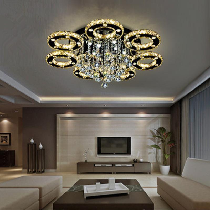 Lâmpadas pingentes de cristal LED teto candelabro luz redonda lâmpada atmosférica para luzes de cozinha pendurado quarto de sala de estar 108W 97W 56w