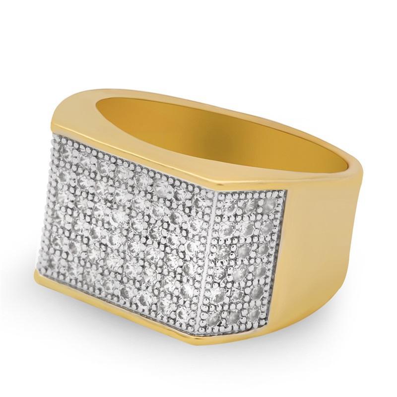 Vecalon Punk Hiphop Rock anillo para hombres Pave Ajuste 119pcs 5a Zircon CZ Oro amarillo Lleno 925 Silver Mascule Fiesta Banda de banda Rings14 T2