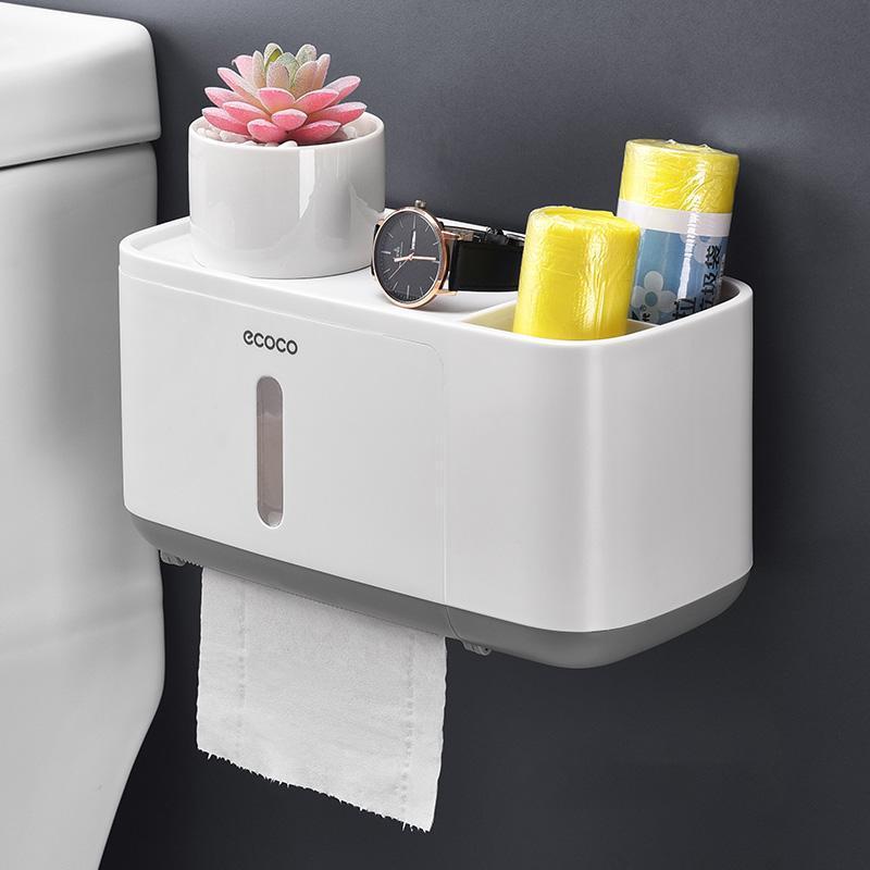 Tapjetales de papel higiénico Caja de tejido portátil Baño de pared Cuarto de pared Toalla impermeable WC, baños