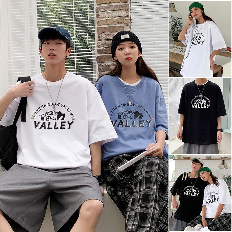 2021 новый короткий рукав влюбленные корейские повседневные мужские футболки летняя мода
