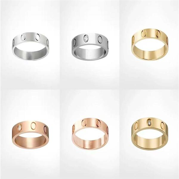 Titânio aço prata ouro rosa zircon masculino e fêmea anel de amor anel aneleiro um presente de casamento para recém-casados