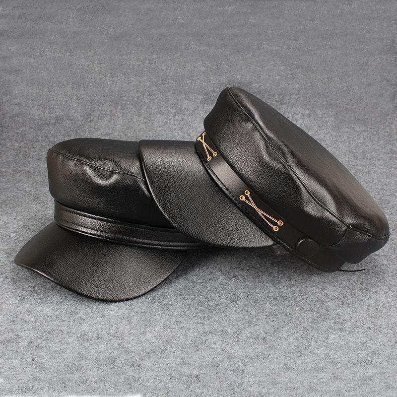 Preto couro sboy tampas boio chapéus outdoor chapéu octogonal boné militar respirável caça mulheres swaning