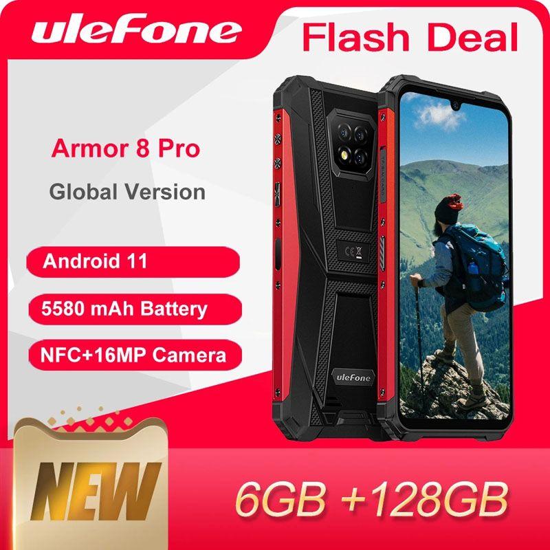 Rugged Smartphones Ulefone Armor 8 Pro 6GB+128GB Android 11 5580mAh NFC IP68 4G GPS Waterproof Mobile Phone Smartphone