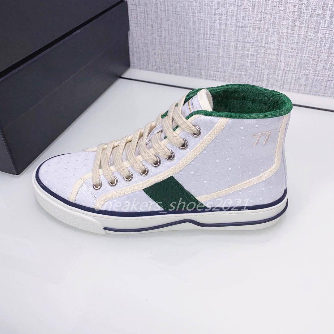 الفاخرة مصمم الأحذية الرياضية تنس 1977 سلسلة التطريز الرجال النساء عالية أعلى قماش جلد المطاط أحذية رياضية