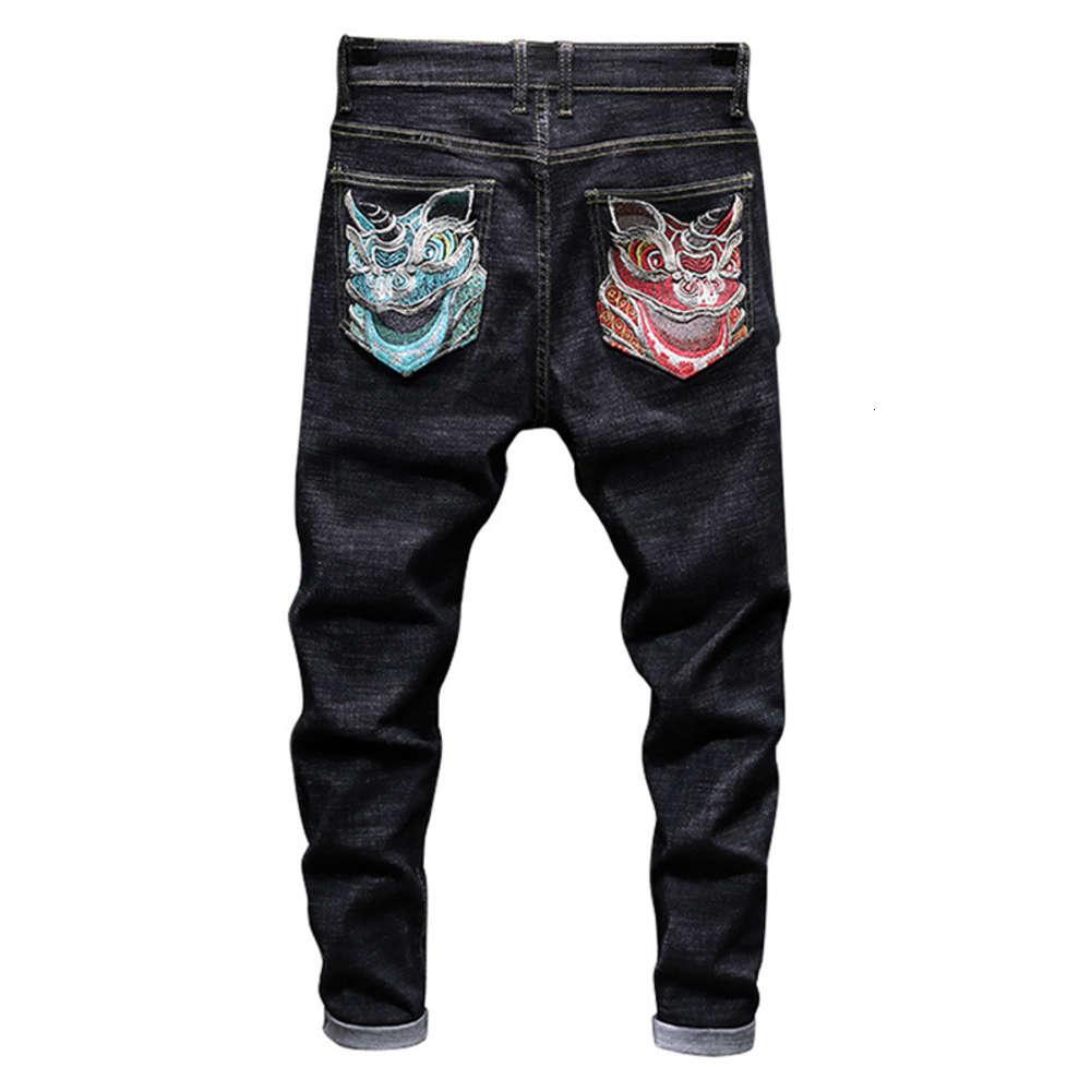 Sokotoo Мужская льва вышивка черные джинсы Фахион Тонкий подходящий участок джинсовые брюки брюки