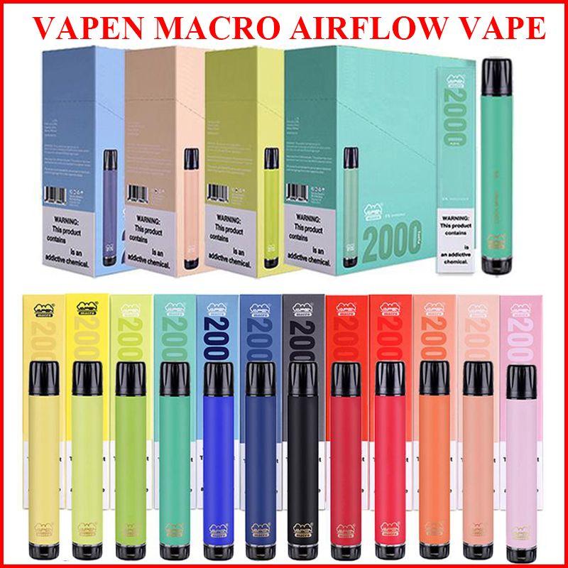 Аутентичные варевые макрос электронно-сигареты 2000. Одноразовые ручки Vape вертикальные катушки плюс XXL XTRA Extra Max Flex Vaporizer Предварительно заполненные стержни E CIGS Vaporizers