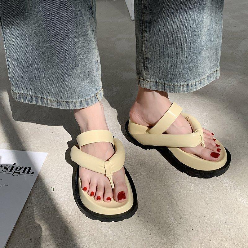 Zapatos de verano para mujer Flip Flip Flops All-Match Cómodo Plataforma Casual Round Head Mujer zapatillas