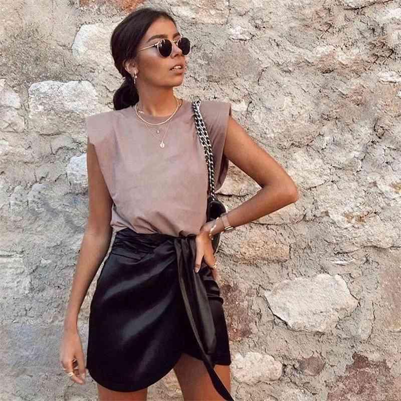 Nuevo verano mujeres tapas hombreras sin mangas sin mangas 95% algodón jersey estilo básico casual femme camisetas Ropa Mujer 210318