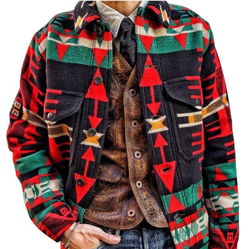 Jaquetas dos homens Cysincos Homens Roupas Cardigan Manga Longa MIDI Camisola Casaco Estilo Étnico Inverno e Outono Casaco Casual Limited genuíno