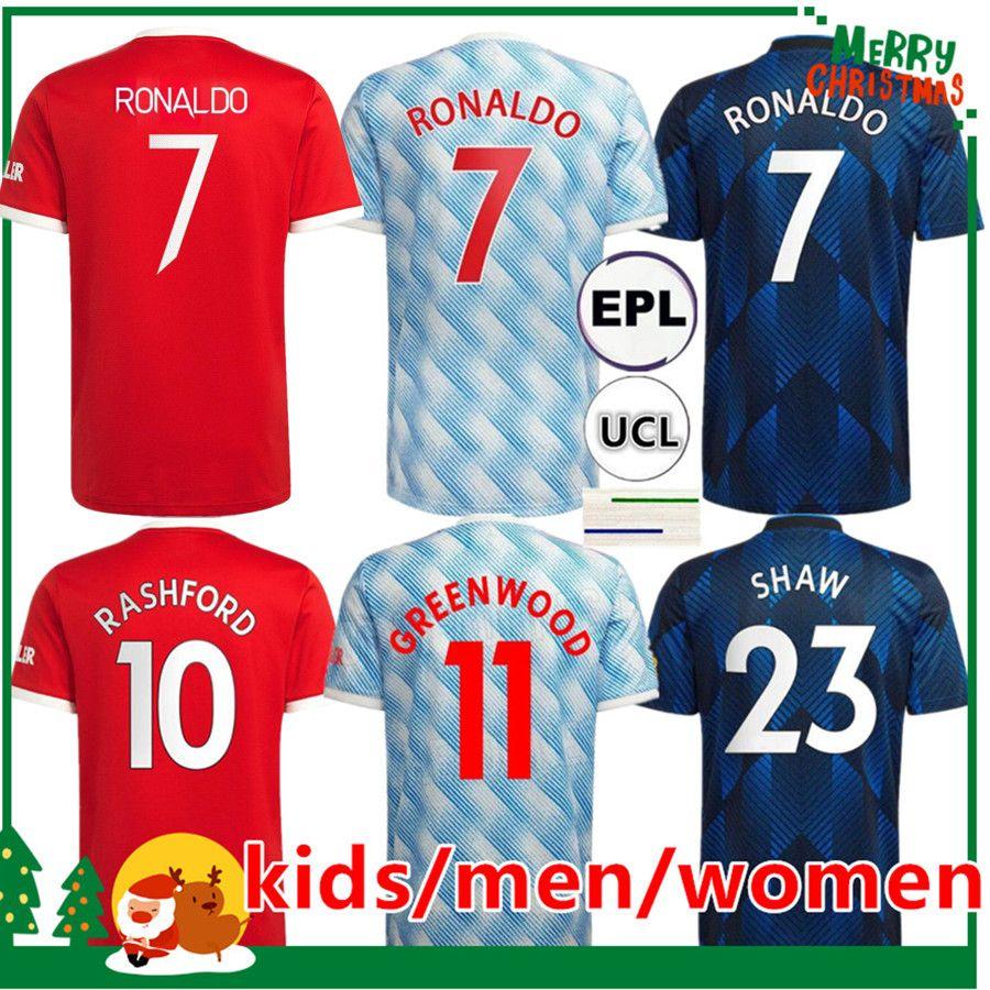 21 22 Manchester Ronaldo Soccer Jersey 2021 Sancho Pogba Cavani Martial Van de Beek B. Fernandes Rashford Greenwood Varane United Football Shirt Women Kids Kit + Hombres