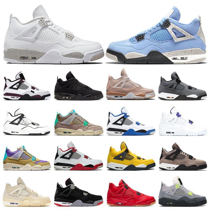 zapatillas de deporte para hombre 4 zapatos de baloncesto 4s blanco oreo universidad azul negro gato fuego rojo púrpura metalizado cemento diy mujer entrenadores deportivos tamaño 5.5-13