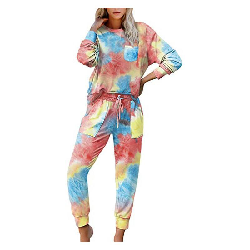 Loungewear Women's Tracksuits Tie Dye Long Sleeve Round Neck Pullover T-Shirt Blouse Tops Pants Casual Set Womens Two Piece