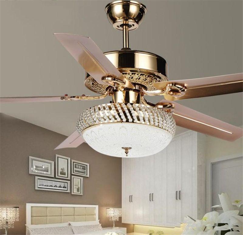 Современный потолочный вентилятор LED LED 3 Изменение света 5 Реверсивные лезвия Кристальные люстры с дистанционным управлением Отключение энергии отключения энергии